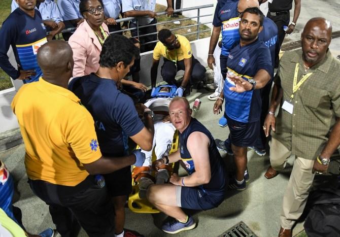 Kusal Perera cleared serious injury crashing advertising board 3rd Test Day 3 West Indies Sri Lanka Barbados cricket