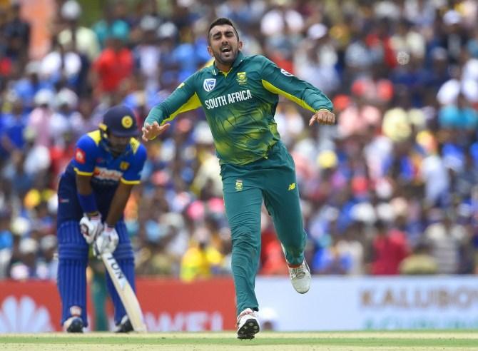 Tabraiz Shamsi four wickets Sri Lanka South Africa 1st ODI Dambulla cricket