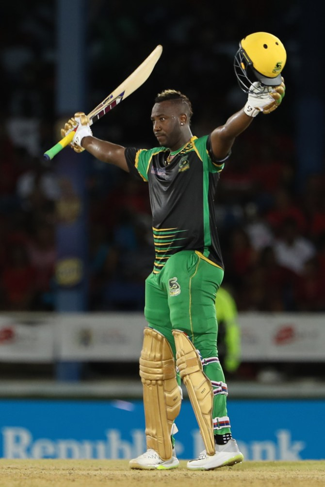 Andre Russell hat-trick 121 not out Jamaica Tallawahs Trinbago Knight Riders Caribbean Premier League CPL 3rd Match cricket