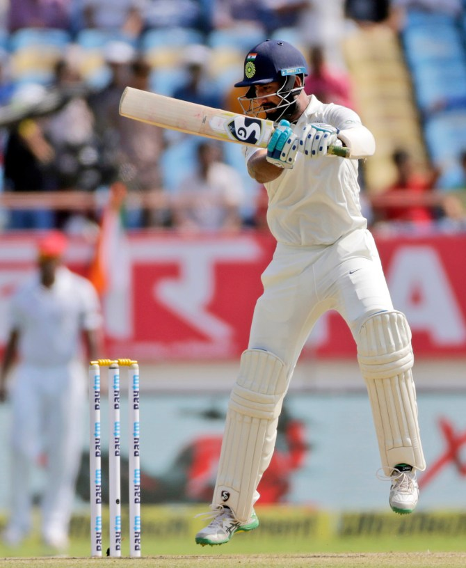 Cheteshwar Pujara 86 India West Indies 1st Test Day 1 Rajkot cricket