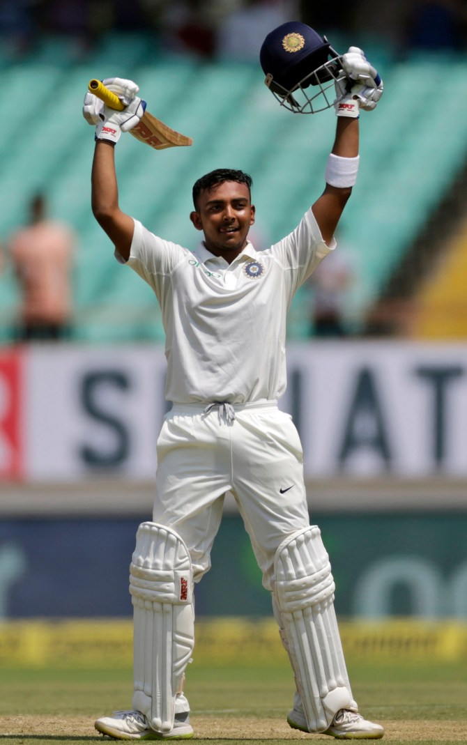 Prithvi Shaw 134 India West Indies 1st Test Day 1 Rajkot cricket