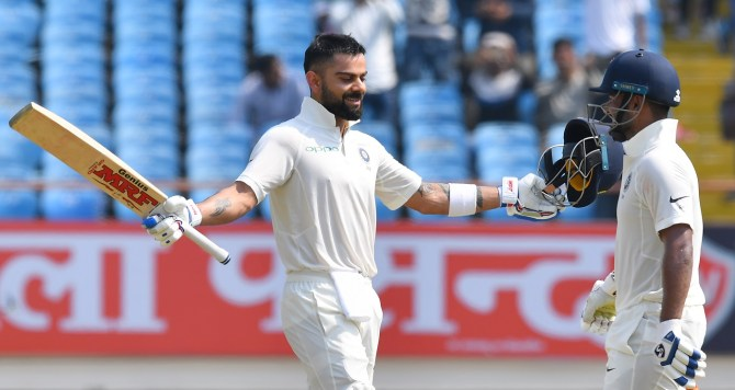 Virat Kohli 139 India West Indies 1st Test Day 2 Rajkot cricket