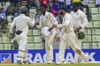 Brandon Mavuta four wickets Zimbabwe win first overseas Test in 17 years Bangladesh 1st Test Day 4 Sylhet cricket