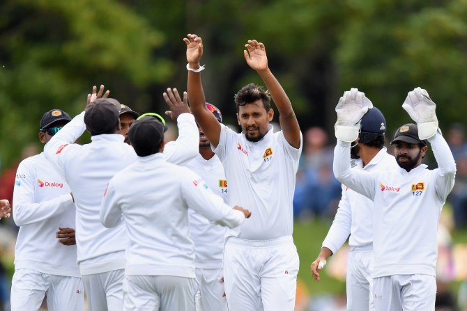 Suranga Lakmal five wickets New Zealand Sri Lanka Boxing Day Test 2nd Test Day 1 Christchurch cricket