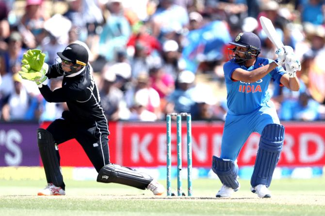 Rohit Sharma 87 New Zealand India 2nd ODI Mount Maunganui cricket