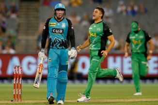 Marcus Stoinis 43 four wickets Melbourne Stars Brisbane Heat Big Bash League BBL 42nd Match cricket