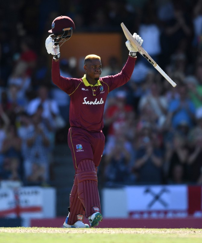 Shimron Hetmyer 104 not out West Indies England 2nd ODI Barbados cricket