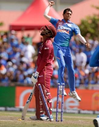 Naveep Saini three wickets on debut West Indies India 1st T20 Lauderhill cricket
