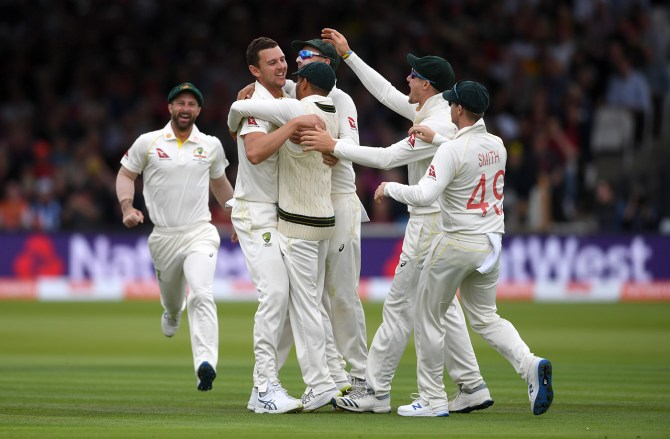 Josh Hazlewood three wickets England Australia 2nd Ashes Test Day 2 Lord's cricket