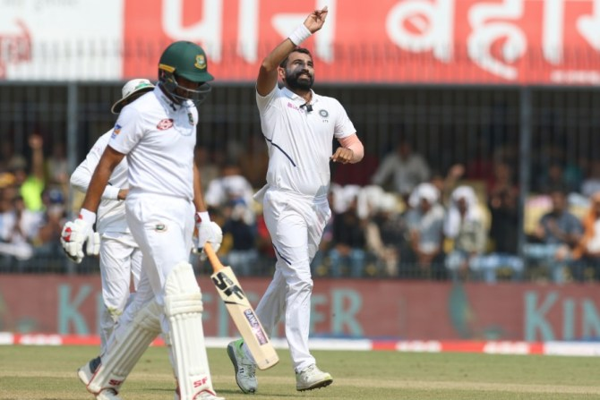 Mohammed Shami four wickets India Bangladesh 1st Test Day 3 Indore cricket