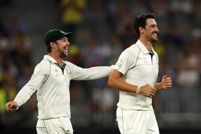 Mitchell Starc four wickets Australia New Zealand 1st Test Day 2 Perth cricket
