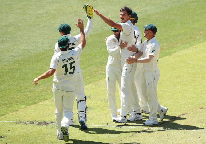 Mitchell Starc four wickets Australia New Zealand 1st Test Day 4 Perth cricket