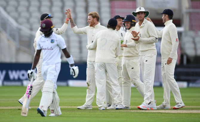 Ben Stokes 78 not out two wickets England West Indies 2nd Test Day 5 Manchester cricket