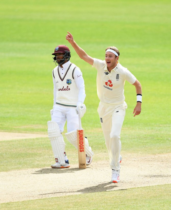 Stuart Broad 500th Test wicket Chris Woakes five-for England West Indies 3rd Test Day 5 269-run win 2-1 series win Manchester cricket