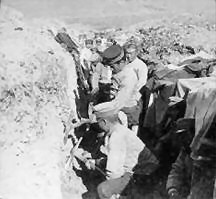 Japanese troops at work in a trench