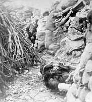 Dead Japanese soldier in a Russian forward trench