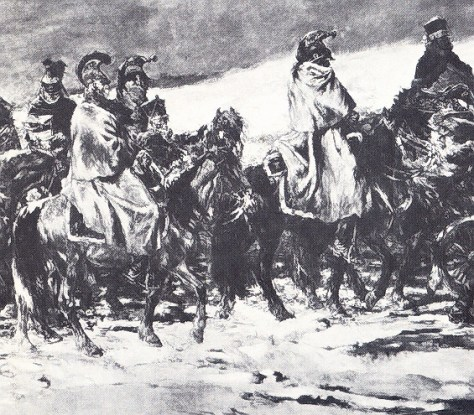 Painting depicting the French cavalry during the retreat from Moscow in 1812. A far more realistic impression of how the cavalry of both armies looked in Poland.