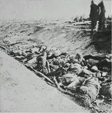 Gardner's photograph of some of the dead in the Sunken Lane.