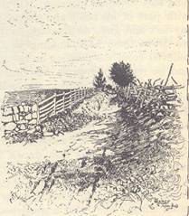 The Sunken Lane, Looking East from the Roulette's Lane. From a photograph taken in 1885.