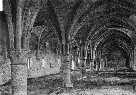 Interior of the Abbey of Vauclerc. During the battle it was used for the wounded.