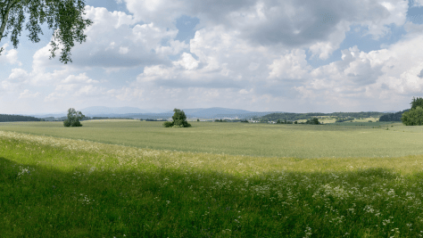 View over the battlefield from Austrian front lines. Click to see full virtual tour.