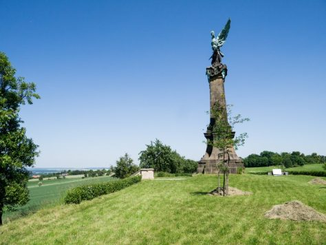 The Austrian monument inside the old Swedish earthworks looking towards the Prussian position.