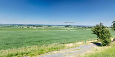 View of the battlefield from Austrian monument looking towards the Prussian monument.. Click for interactive tour