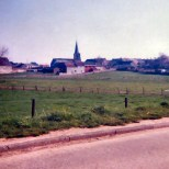 """The view looking from the approach line of the French (Lefol's division, Vandamme's corps) as they attacked St Amand. The church itself is, """"a conserve sa physionomie de 181"""", and according to everyone we spoke to it has remained the same ever since the battle."""