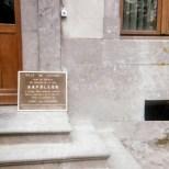 Fleurus: The plaque concerning Napoleon at the Château de la Paix.
