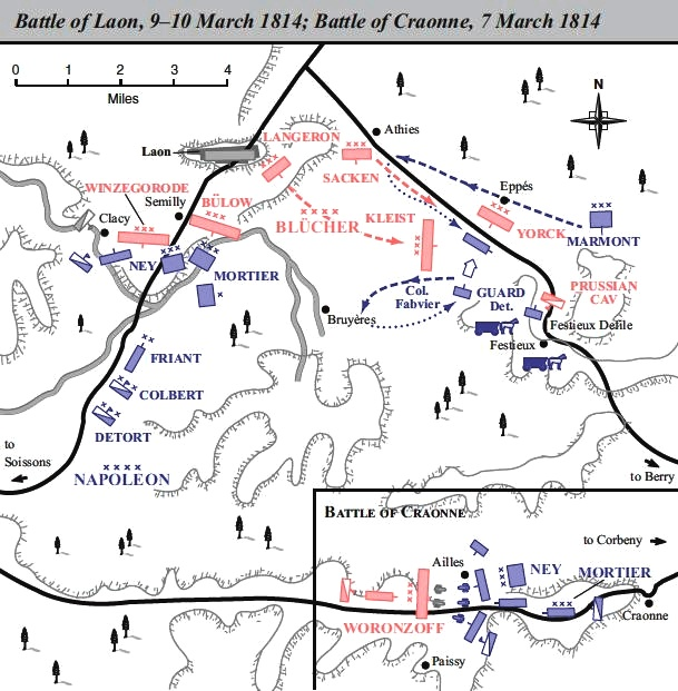 Map of the battles of Laon and Craonne