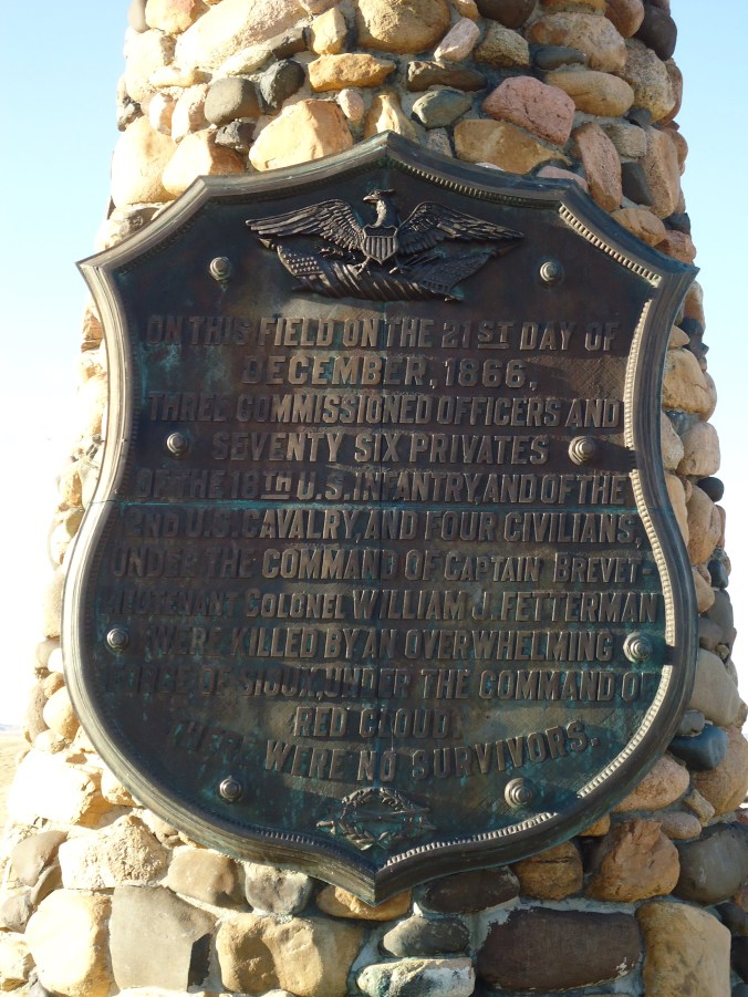 The plaque on the Fetterman Massacre Monument