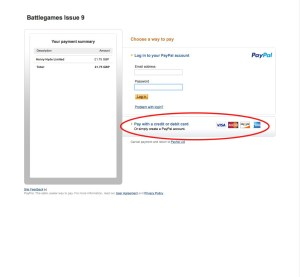 Screenshot showing that you can use your credit or debit card