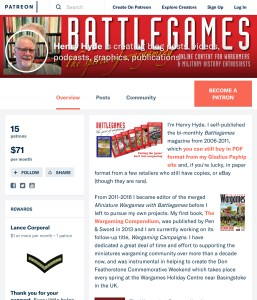 Battlegames Patreon page now live