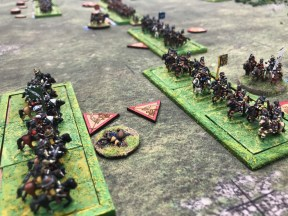 Simon Miller and Andrew Brentnall staged Marston Moor in 10mm using For King and Parliament.