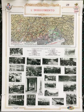 Public exhibition of The Battle of Vittorio Veneto for WWI Armistice in Vittorio Veneto, Italy. Pages from Edizioni del Risorgimento by Guido Tabet.