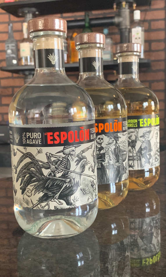 trio of espolon tequila bottles on bar top The Battleground Kent Ohio bar