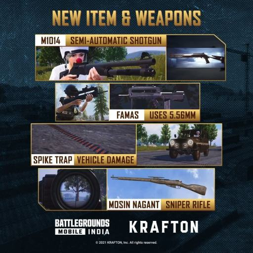 new item and weapon -Battlegrounds Mobile India 1.5 Update