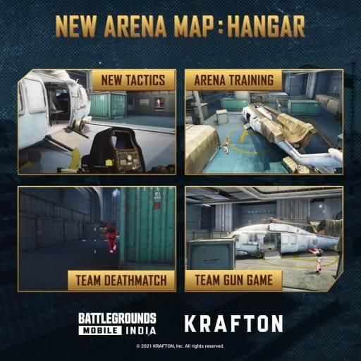 Battlegrounds Mobile India 1.5 Update - new arena map hangar