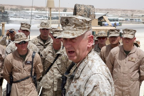 Then-Lt. Gen. James Mattis speaks to Marines in Iraq in 2007. (Photo by Cpl. Zachary Dyer/Marine Corps)