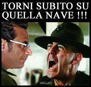 "Fearsome even in Italian, a photo illustration shows R. Lee Ermey in his role as the drill instructor in ""Full Metal Jacket"" shouting at the captain of the capsized Costa Concordia to return to the ship."