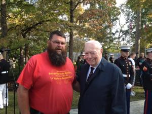 Doolittle with former commandant Al Gray at the anniversary ceremony at the Beirut memorial. Courtesy Doolittle's Facebook page.