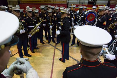 The Marine Corps East Coast Composite Band rehearses for their performance in this year's Macy's Thanksgiving Day Parade. It's only the second time a Marine band has performed in the annual holiday event.   (Camp Lejeune Facebook)