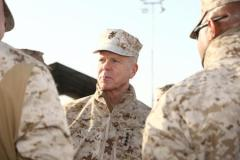 U.S. Marine Corps Gen. James F. Amos, commandant of the Marine Corps, visits with Marines from Maintenance Supply Battalion aboard Camp Leatherneck, Afghanistan, Feb. 5, 2012.  (Defense Department photo)
