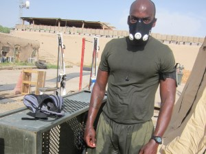 Sgt. Sylvester Brooks whups it on in Afghanistan with his high altitude mask.
