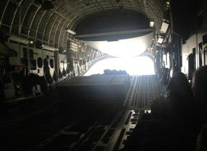 Plane hatch opens onto Camp Bastion. Time to meet the Marines. Photo by Hope Hodge Seck