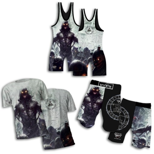 The Mega Mode Package – Battle Tek Athletics Wrestling Beast Series Package complete with The Beast Mode Sublimated Singlet; MMA Grappling fight shorts and sublimated Dri Fit Performance Tee