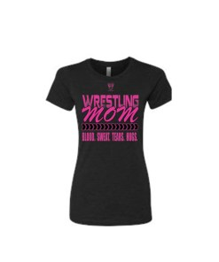 Comfortable 100% Combed Ringspun Cotton Wrestling Mom Babydoll Style Black Tee With Pink Lettering - Front View Shows Support For Son/Daughter Wrestler
