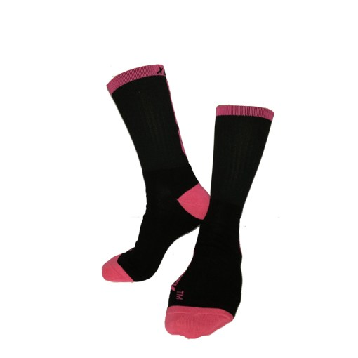 The Battle Tek Athletics XCLR8 Black and Pink Performance Socks offer Moisture Control, Impact Absorbency and Great Style – Side and Front Views