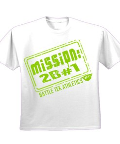 White and Green Battle Tek Athletics Mission To Be Number One Mens Performance Tee Shirt