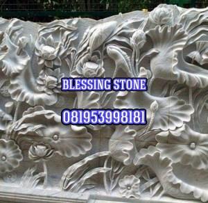 Batu Paras Relief Motif Bunga Lotus 1